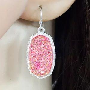 Jewelry - Silver plated/pink Druzy Drop stone earrings new